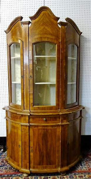 "19TH C. ITALIAN DEMI BANDED BOOKCASE/CHINA CABINET 87""H"