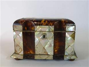 "19TH C. MOTHER OF PEARL  & TORTOISE TEA CADDY 5"" X 8"" X"