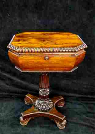 "19TH C. ROSEWOOD TEA CADDY STAND 24""H 20""W 14.5""D"