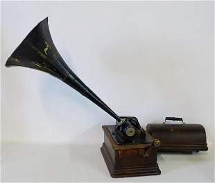 EDISON HOME STANDARD CYLINDER PHONOGRAPH W/CRANK & TIN