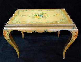 """ITALIAN VENETIAN DECORATED COCKTAIL TABLE 20""""H 26""""W"""