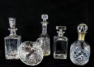 """5 CUT CRYSTAL DECANTERS INC. WATERFORD 12.5""""H TALLEST"""