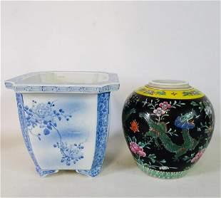 BLUE & WHITE JARDINIERE & ASIAN BLACK & YELLOW