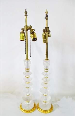 "PR. ROCK CRYSTAL & BRONZE LAMPS 27.5""H"