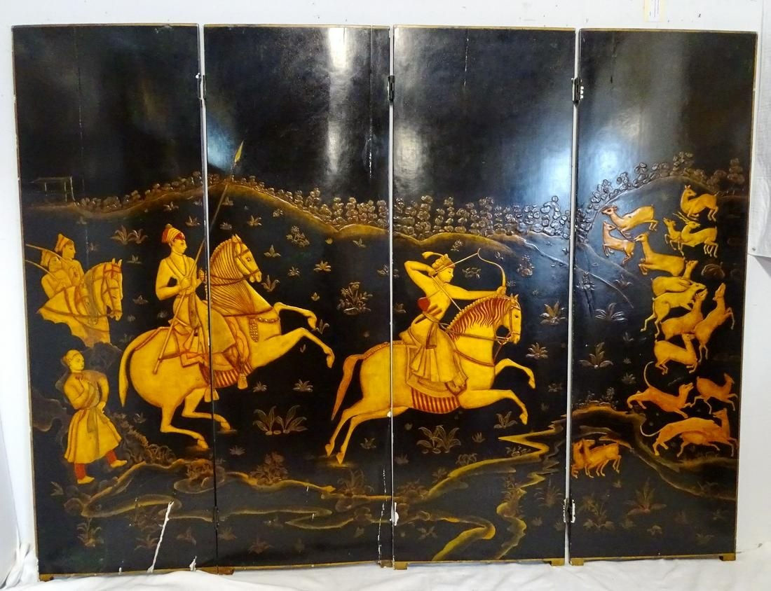 BLACK LACQUER FOUR PANEL CHINESE SCREEN W/HUNTING SCENE