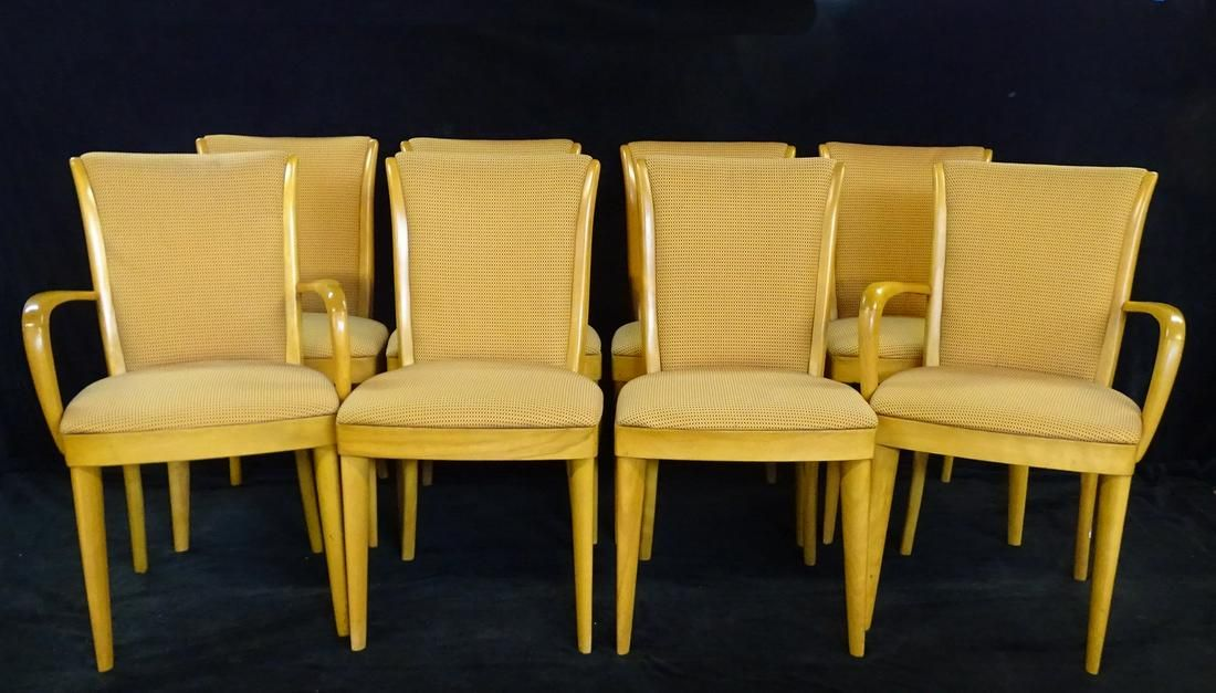 """8 HEYWWOOD WAKEFIELD DINING CHAIRS (2 WITH ARMS) 33""""H"""