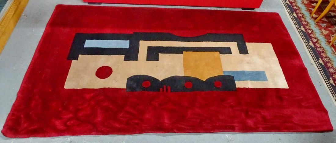 """FERNAND LEGER NO. 9 ROUGE DESIGN FRENCH RUG 5'1X8'8"""""""