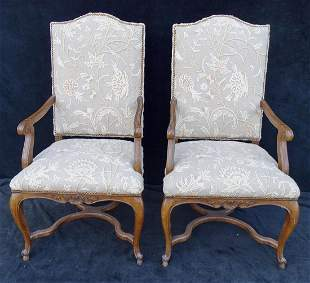 PR. CREWEL WORK UPHOLSTERED AMR CHAIRS WITH STRETCHER