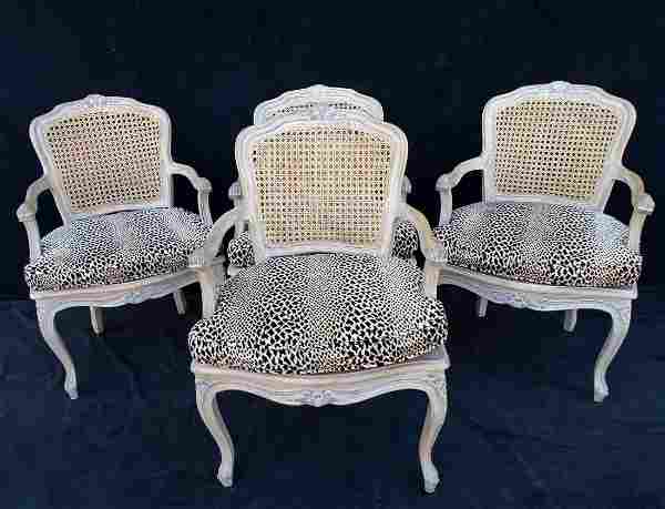 4 LOUIS XV STYLE CANED CHAIRS WITH LEOPARD CUSHIONS