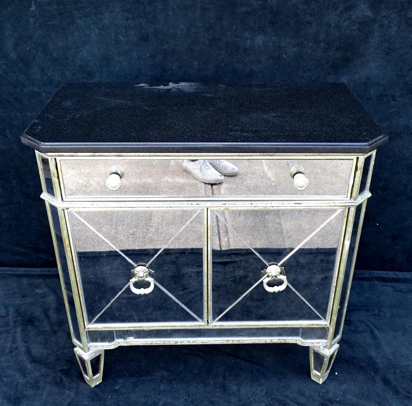 """MIRRORED CHEST WITH GRANITE TOP 29.5""""H 30.5""""L 17.5""""D"""
