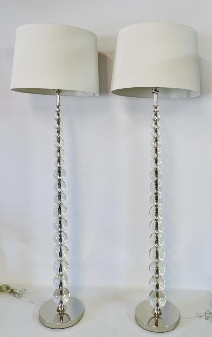 "PR. STACKED LUCITE SPHERE FLOOR LAMPS 62.5""H"