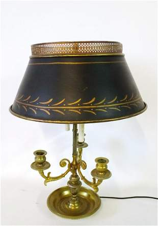 """BOUILLOTTE LAMP WITH TOLE SHADE 20""""H 14"""" DIA."""