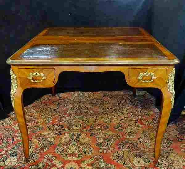 LOUIS XV STYLE BRONZE MOUNTED LEATHER TOP PARTNERS DESK