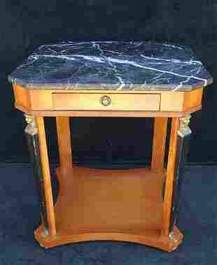 """EMPIRE STYLE FIGURAL BRONZE MOUNTED SIDE TABLE 26""""H"""
