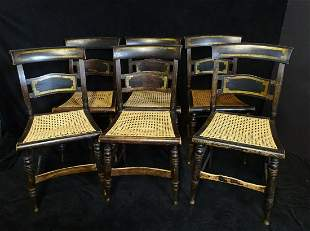 """6 ANTIQUE PAINT DECORATED CANED SIDE CHAIRS 35""""H 18""""W"""