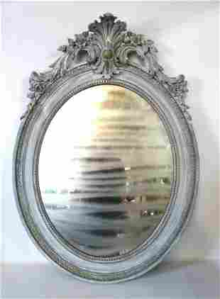 """19TH C (?) CARVED WOOD OVAL MIRROR 46X33.5"""""""