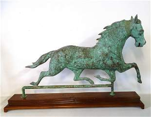 """VERDIGRIS COPPER HORSE WEATHERVANE ON WOOD PLYNTH 23""""H"""