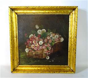 19TH C. OIL ON CANVAS STILL LIFE BASKET OF PINK FLOWERS
