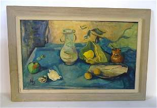 HARRIET JONAS SGN. OIL ON ARTISTS BOARD STILL LIFE WITH