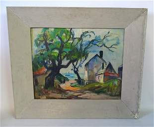 DOUBLE SIDED OIL ON ARTISTS BOARD LANDSCAPE WITH HOMES