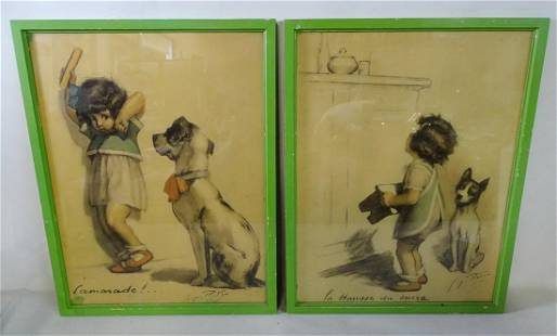 """(2) GEORGE REDON SIGNED CRAYON ON PAPER """"COMORADE!""""AND"""