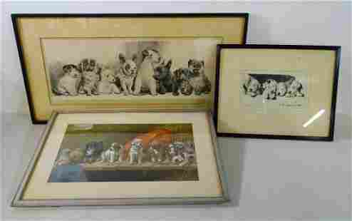 (3) DOG THEMED PRINS INCLUDING (2_ PENCIL SIGNED &