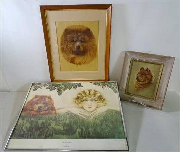 (3) CHOW CHOW THEMED WORKS INC.. FOX SIGNED OIL ON