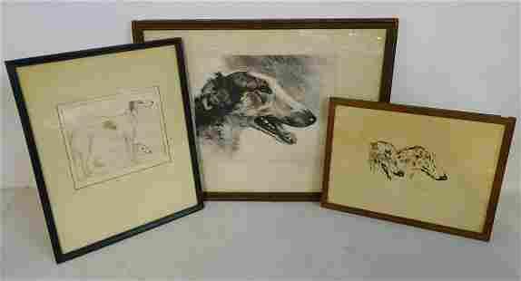 (3) BORZOI THEMED WORKS INC. POLLEK (?) SGNED PEN & INK
