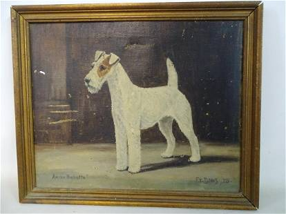 F.T. DAWS SIGNED OIL ON CANVAS WIRE HAIRED FOX TERRIER