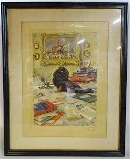 """A.J. MUNNINGS PENCIL SIGNED LITHOGRAPH """"THE BLACK"""