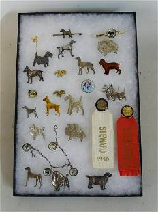 INCLUSIVE LOT OF DOG FIGURAL PINS, ETC. INCLUDING