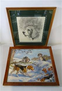 (2) BEAGLE THEMED WORKS INC. CHUCK LIESE SGN. DRAWING