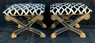 """PAIR OF CERULE REGENCY STYLE BENCHES W/ CLAW FEET 19"""""""