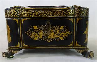 """19TH CENTURY CHINOISERIE BLACK AND GOLD TEA CADDY 5"""" X"""