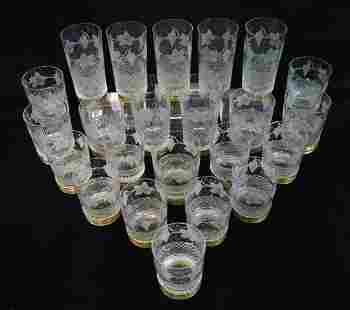 """25 PCS. BRASS MOUNTED CRYSTAL GLASSES 5.75"""" TALLEST"""