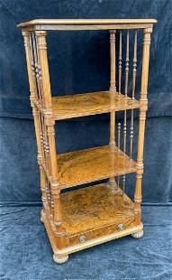 """VICTORIAN BURLED WOOD SPINDLED BOOKCASE 52"""" X 24"""" X 18"""""""