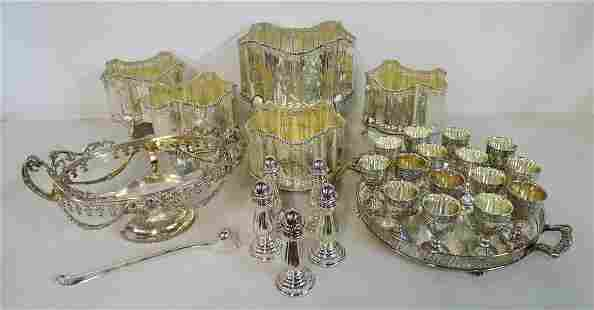 SUBSTANTIAL LOT OF SILVERPLATE ITEMS INC. (5) FOOTED