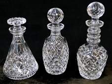 GROUP 3 CRYSTAL DECANTERS (1 IS WATERFORD)
