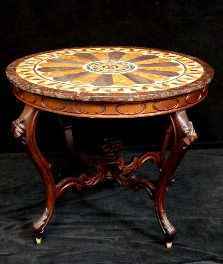 19TH C. ITALIAN FIGURAL CENTER TABLE W/ PIETRA DURA TOP