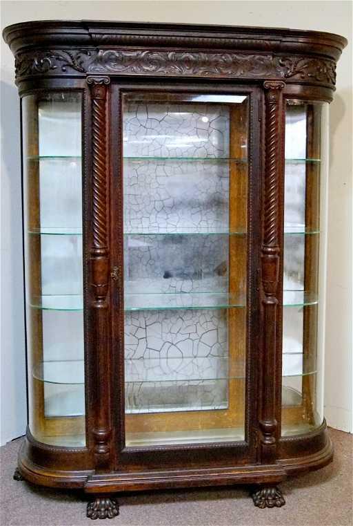 - R.J. HORNER OAK CURVED GLASS CHINA CABINET