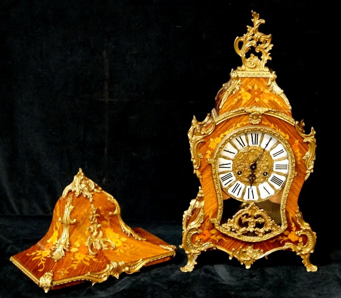 LOUIS XV STYLE FRENCH MARQUETRY CLOCK