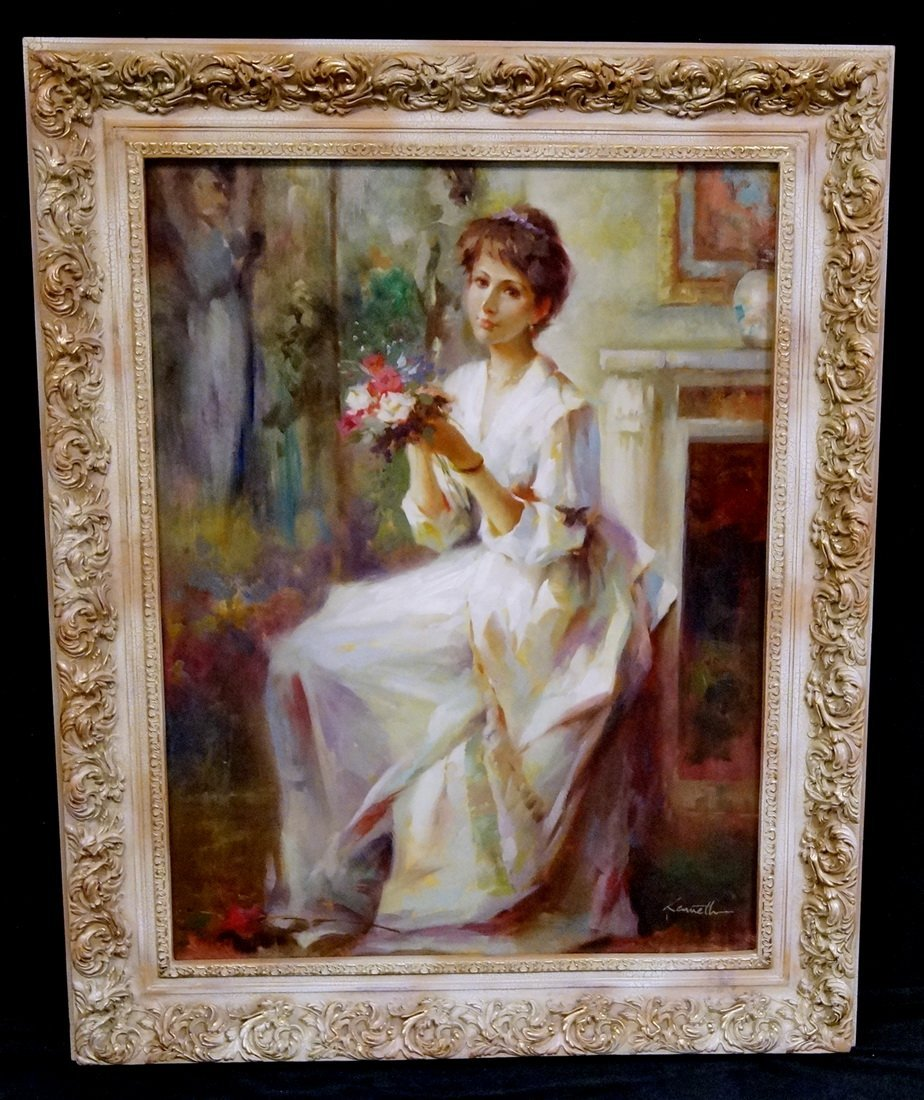 FRAMED PORTRAIT OF A LADY IN A WHITE DRESS