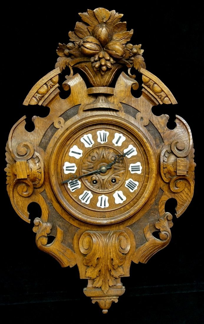 FRENCH CARVED WOOD CLOCK