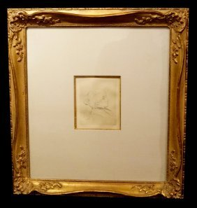 "Framed Renoir Etching ""portrait Of Berthe Morisot"" Sgn."
