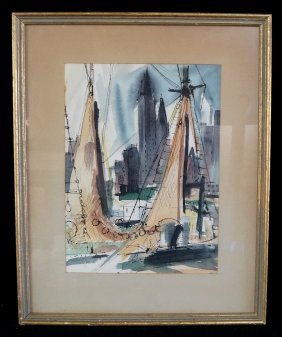 "Framed Watercolor ""ny Harbor Scene"""