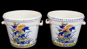 Pr. French Porcelain Jardinieres Made For Tiffany & Co.