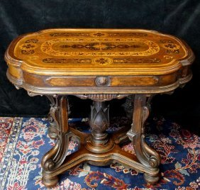 Renaissance Revival Victorian Inlaid Center Table