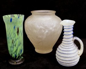 3 Pcs. Glass Inc. Frosted Vase