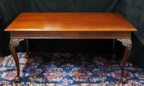 Chippendale Style Mahogany 2 Drawer Desk