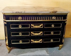19th C Bronze Mounted Marble Top Ebonized Commode